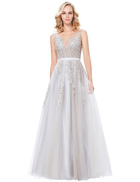 Abiti Eleganti Lunghi 2018.Janevini Tulle Light Grey Long Prom Dresses A Line Beaded Lace