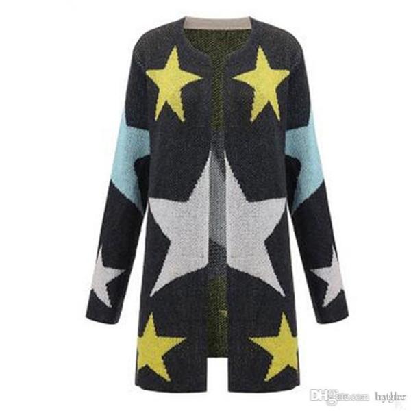 29c8649bc5aa3 Wholesale-European 2016 Women New Cardigan Knitted Open Stitch Long Fashion  Sweater Female Star Pattern Print Full Sleeve Cardigans 80613