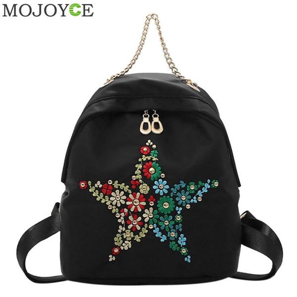 Las mujeres de la moda mochila de alta calidad mochilas escolares para adolescentes bordado a mano Star femenino étnico mochilas impermeables