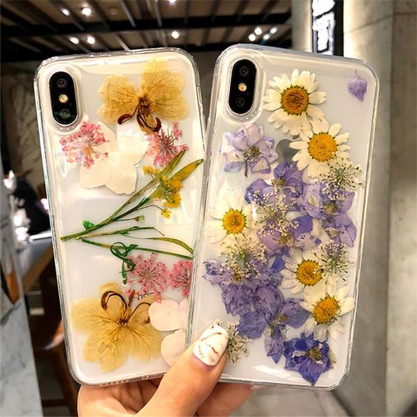 Cas de téléphone de fleur de mode séché pour Iphone X XR XS MAX Couverture de Silicone Lovley pour Iphone 6 7 8 Plus