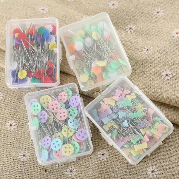 Heißer Verkauf 100 teile / beutel Pins Mischfarben Nähen Patchwork Pins Blumenkopf Nähen Werkzeug Nadel Kunst Zubehör 4style