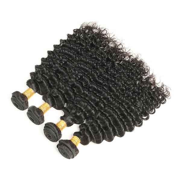 Перуанский Девственные Волосы Перуанский Глубокий Вьющиеся Волны 4 Пучки Необработанные Человеческие Волосы Пучки Естественный Черный Бесплатная Доставка