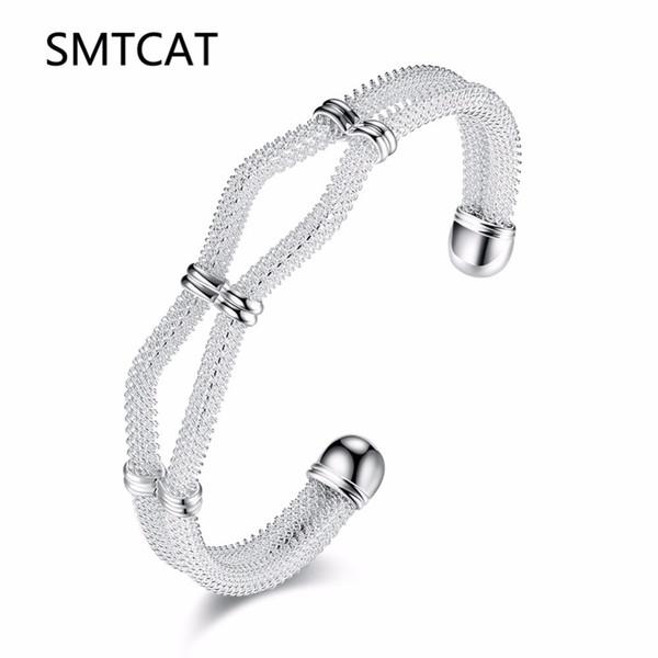 SMTCAT 2018 Nouveau 925 bijoux, bijoux en argent plaqués Mode Bijoux torsadés maille métallique braceletsbangle Pulseiras en gros