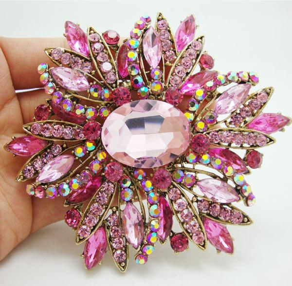 large brooch pins Fashion Beautiful Pink Flower Gold Tone Large Brooch Pin Rhinestone Crystal Party Accessories