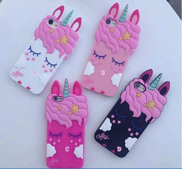 3D Cute Cartoon Unicorn Case For Iphone Xs xsmax 8 7 Plus 6 6S Plus Smile Loverly Cute Cartoon Skin Cover Unicorn Animal 3d Silicone case