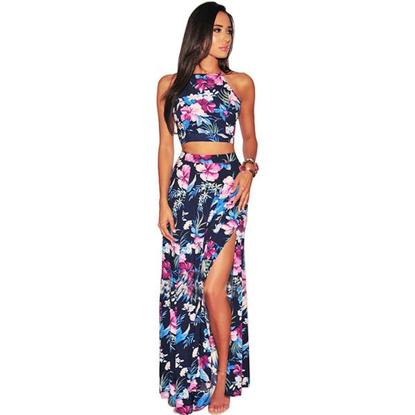 Kadın Iki Parçalı Set Kıyafetler Mahsul En Yüksek Bel Etek Çiçek Baskı Halter Kolsuz Backless Bandaj Bölünmüş Rahat Yaz Suits