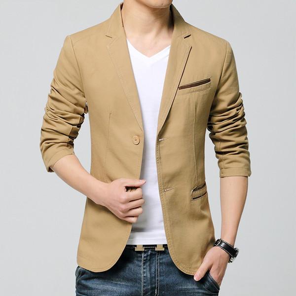 Hommes Costumes 2018 Vente chaude Hommes Business Blazer Haute Qualité Casual Male Style Coréen Veste Maigre avec Deux Boutons Jeunes Costume 3 Couleurs