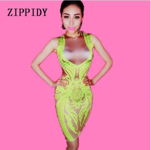 im Angebot 25a1f 87b6b Großhandel Sommer Neon Grün Kleid Frauen Sexy Party Kleid Prom Geburtstag  Feiern Sängerin Kleider Nachtclub Mini Kurze KLEID Von Zunjilong205, $39.2  ...