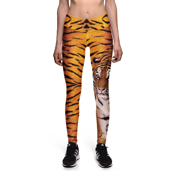 Sexy Girl Slim Pant Women Leggings Plus Size Tiger Striped Animal 3D Prints High Waist Workout Fitness Leggings 0025