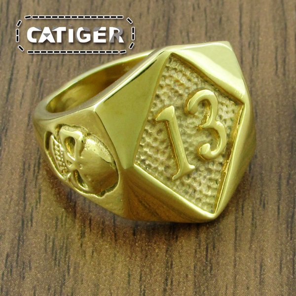 Free Shipping ! Punk Gold Plated color 316L Stainless Steel Thirteen Glamor Skull Ring Rock Number 13 Men's Skeleton Rings Jewelry