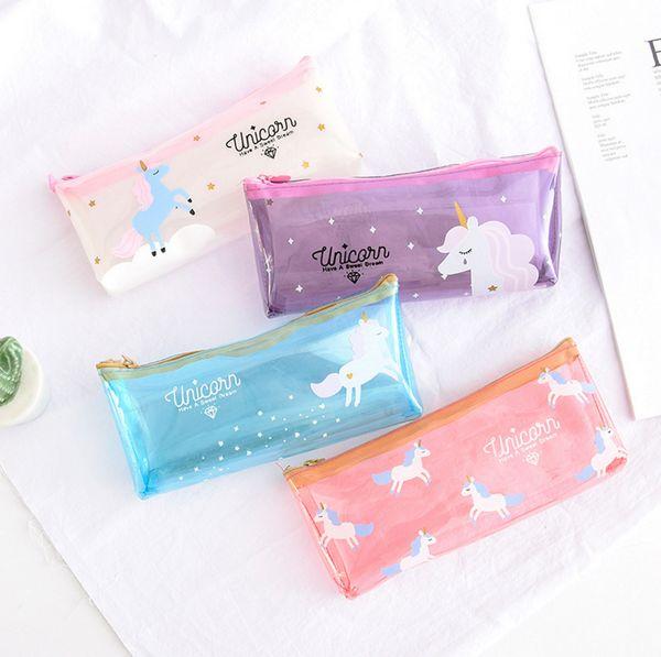4colors Unicorn cartoon Pen Bag transparent Pencil Holder Storage bag kids gift unicorn travel Cosmetic Makeup pouch FFA555 30PCS