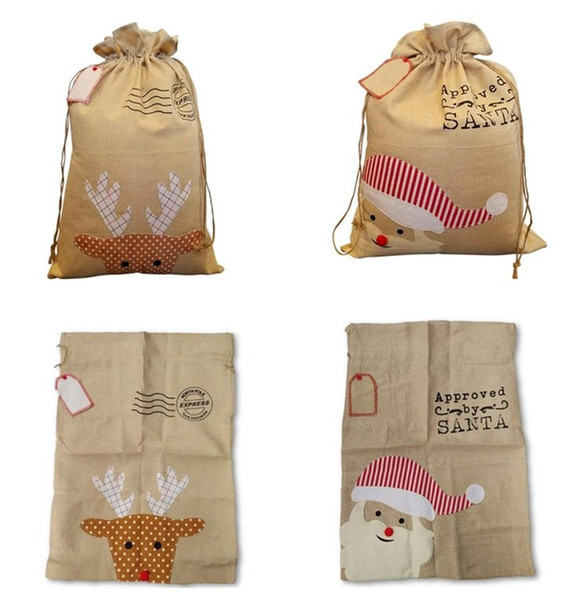 Christmas canvas bag Santa Xmas bag Cotton and linen drawstring bags Christmas gift bags embroidery bags Christmas Decoration MMA343 60pcs