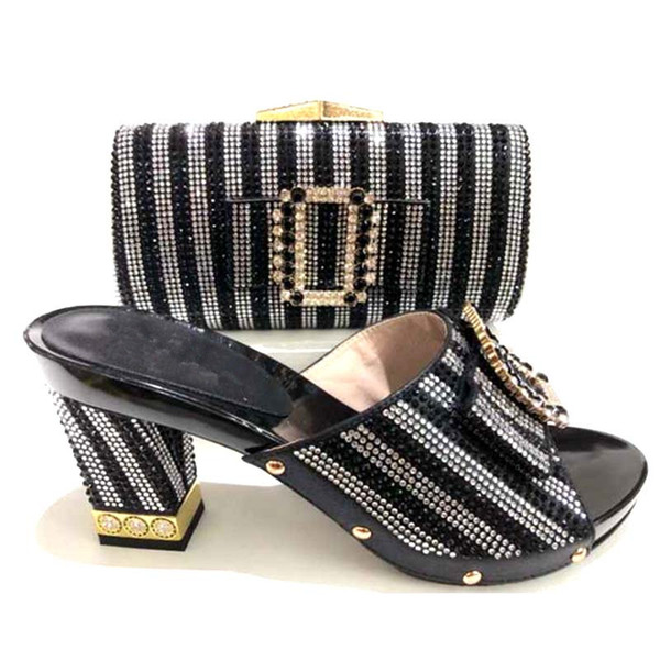 Top selling African designer wedding stone matching italian shoes and bag set for ladies