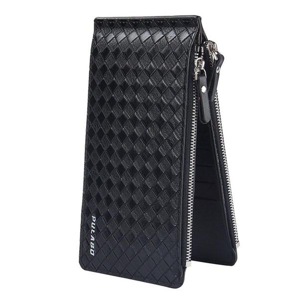 BAELLERRY New Men ultra-thin big-capacity plaid pattern long card package multi-card bit wallet man bank credit card holder