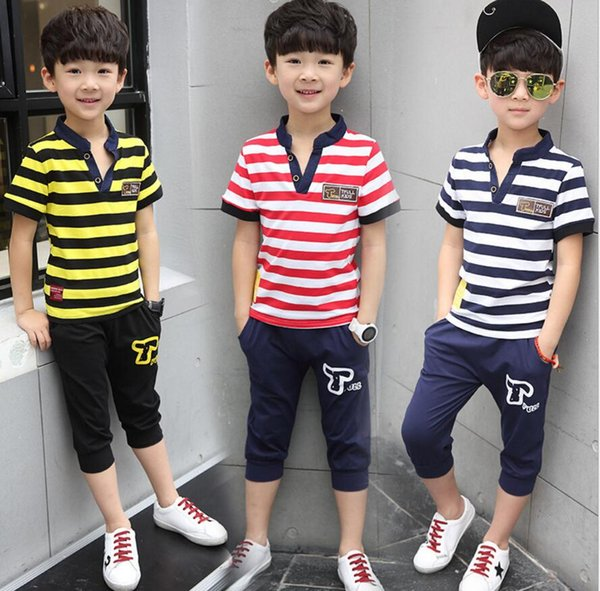 Summer kids clothes suit stripe T-shirt+short pants 2 pieces suit boys clothes sets 100% cotton for 8~16Y kids