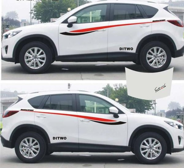 1set SUV Car Truck auto sport power waist Graphics Side Decal Body Hood Stickers for CX-5