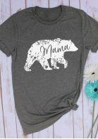 Tee-shirt femme été Tee-shirt ours manches courtes Tee-shirt en polyester Tee-shirt femme Tops Tshirt femme gris