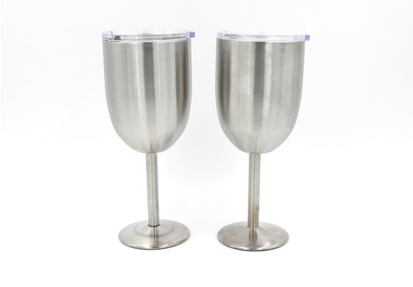 Double stainless steel red wine glass with lid 10oz Cocktail glass goblet Manufacturers wholesale bar tools