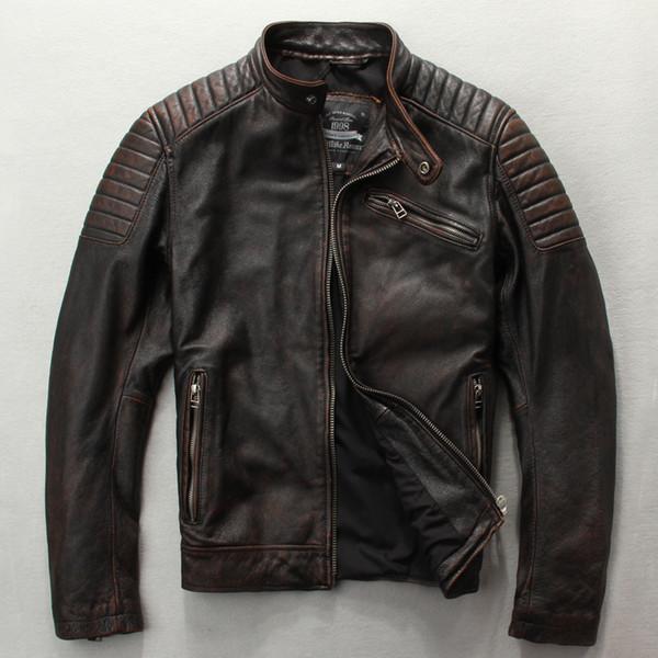 Erkek moda slim fit hakiki deri ceket kahverengi siyah David Buckham tarzı deri ceket erkekler inek cilt motosiklet ceketler
