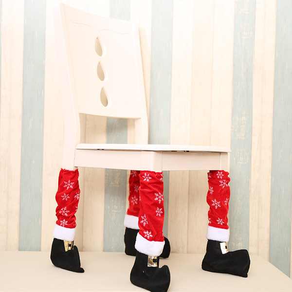 Just 1pcs 2018 Table Leg Chair Foot Covers Xmas Party Decoration Navidad Xmas Funny Christmas Table Decor New Year Holiday Favor
