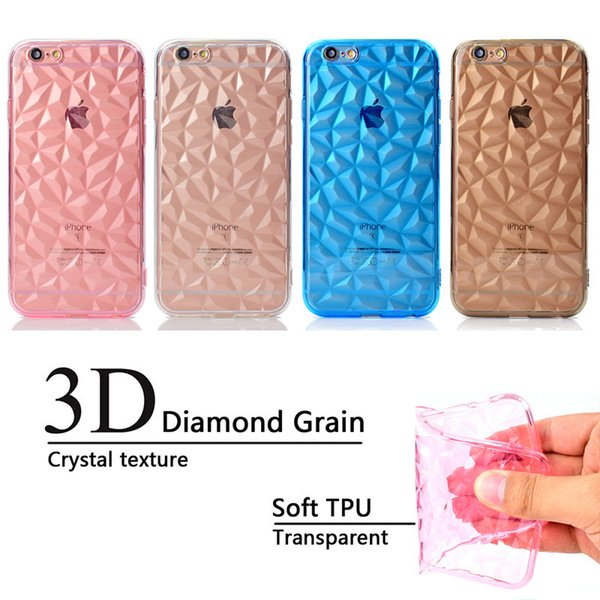 Back Cover For iPhone 6 Case Transparent Soft TPU 3D diamond pattern Mobile Phone Cases For iPhone 6S