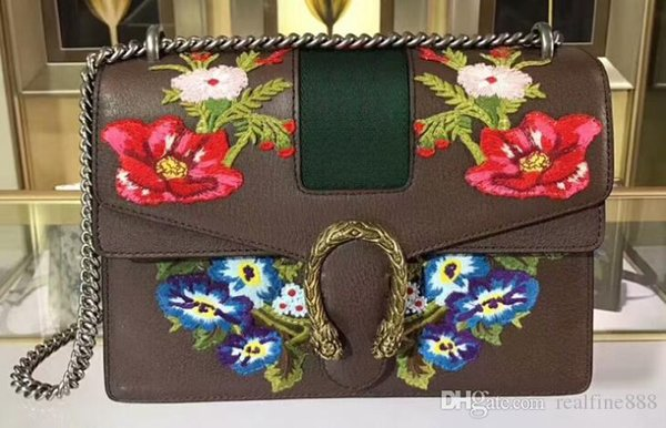 AAAAA 403348 30cm Dionysuss Embroidery 3 Dimensional Rose Leather Shoulder Bag Suede Lining with Box Dust Bag Serial Number Free Shipping
