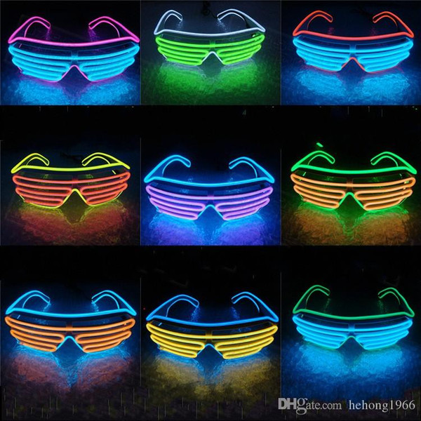 LED Light EL Wire Eyeglass Flashlight With Hand Press Button Glasses For Night Club Bar Party Carnival Tools Many Colors 15oy ZZ