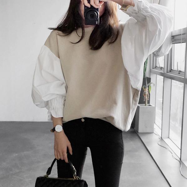 Sweat à capuche de luxe Automne Mode Nouveau Col Rond Lanterne Manches Femmes Split Split Sweat-shirt Japon et Corée du Sud Tops
