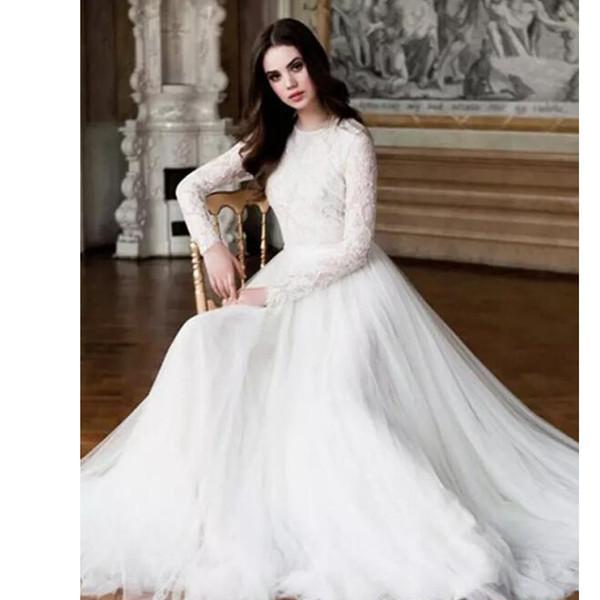 2019 Modesto elegante de encaje completo Boho Country A Line vestidos de novia Sheer mangas largas Ilusión Volver tul vestidos de novia