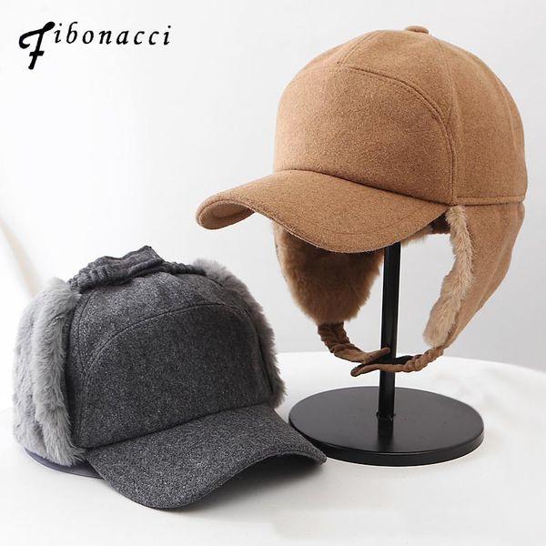 Fibonacci High Quality Cold Proof Warmth Retention Women Bomber Hats Adult Autumn Winte Hat Fine Cashmere Ear Flap Flat Cap