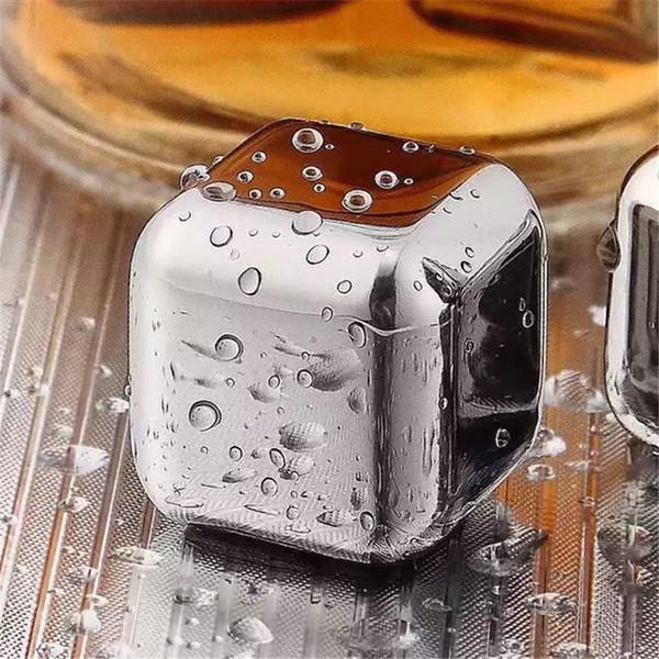 Glaçons d'acier inoxydable Pierres de whiskey Glaçons réutilisables en métal Pierres de refroidissement Roches pour la boisson de bière de vin Pierre de vin de glace de whiskey