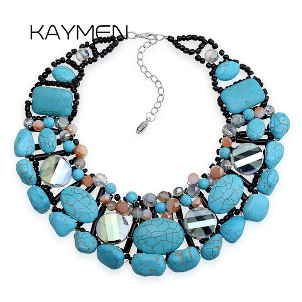 Neues Design Kallait Stein Weben Aussage Choker Halskette für Mädchen Handgefertigte Luxus Mode Kristall Halskette Anhänger Schmuck