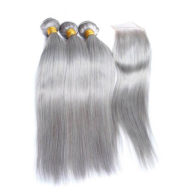 Silky Straight Peruvian Virgin Human Hair Pure Grey 3Pcs Bundles Deals with Closure Silver Grey 4x4 Lace Front Closure with Weaves Hair Weft