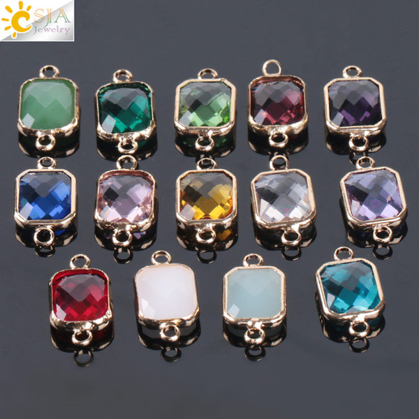 CSJA Cheap 10pcs Bohemian Square Crystal Glass Beads Gold Double Rings Pendant for Necklace Charm Bracelets Connector Jewellery Finding E880