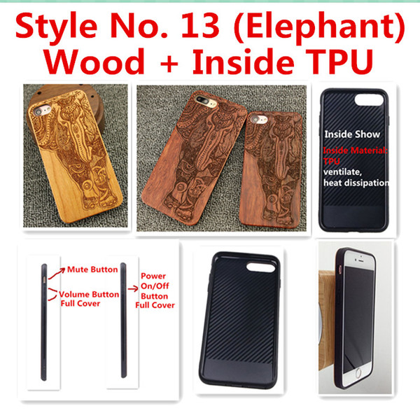 Style No. 13 (Elephant) Unique Stylish Classy Snap-On Real Wood Wooden Bamboo TPU Back Cover Case for iPhone X 8 7 6S 6 Plus 5 5S SE