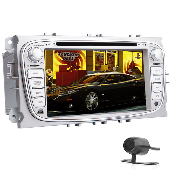 Rear Camera+EinCar Quad-core 1GB+16GB 7'' Capacitive Touch Screen Car Stereo Radio car DVD Player For Ford Focus Mondeo GPS Canbus Screen