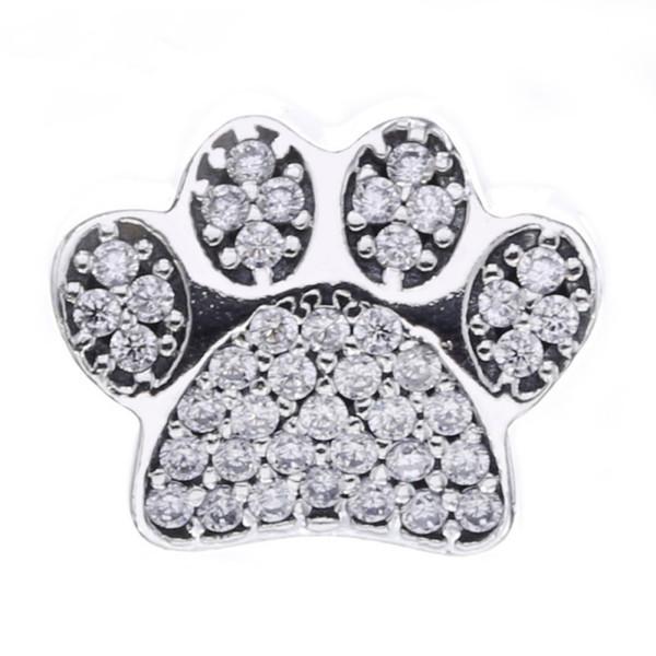 La pata imprime los encantos del grano auténtica plata esterlina 925 de la huella animal de los granos para la joyería que hace la marca DIY pulseras accesorios HB384