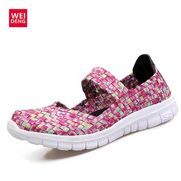 WeiDeng Ultra Léger Tricot Tissu Plat Stretch Marche Upstream Click Chaussures Phylon Femmes Corde Élastique Eau Casual Summer Sandal