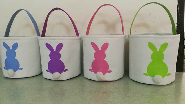 top popular New Design 4 Colors Easter Rabbit Basket Easter Bunny Bags Rabbit Printed Canvas Tote Bag Egg Candies Baskets 2019