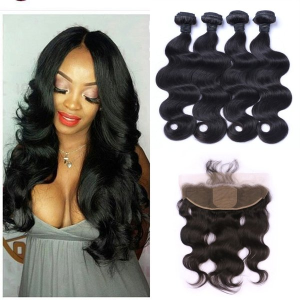 Indian Body Wave Silk base Frontal Closure With 4 Bundles Virgin Human Hair Extensions Shedding Free 8-30inch