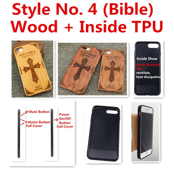 Style No. 4 (Bible) Fashionable Classy Snap-On Real Projector Wood Wooden Bamboo TPU Rear Back Cover Case for iPhone X 8 7 6S 6 Plus 5 5S SE
