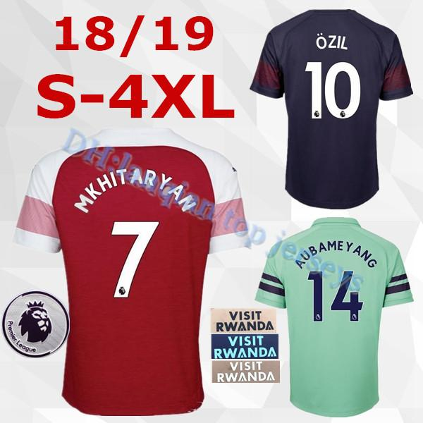 low priced f96a3 464f2 2019 S 4XL New 2019 Arsenal Soccer Jersey 2018 AUBAMEYANG MKHITARYAN OZIL  JERSEY 18 19 LACAZETTE XHAKA TORREIRA Football Kit Top Soccer Shirt From ...