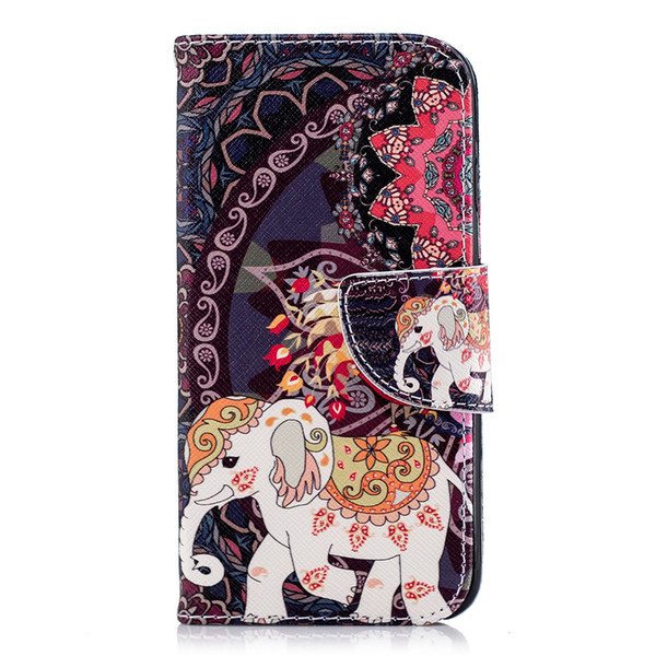 Lovely National Elephant Cell Phone Flip Case Cover PU Leather with Wallet Card Holder Phone Stand 80 Models
