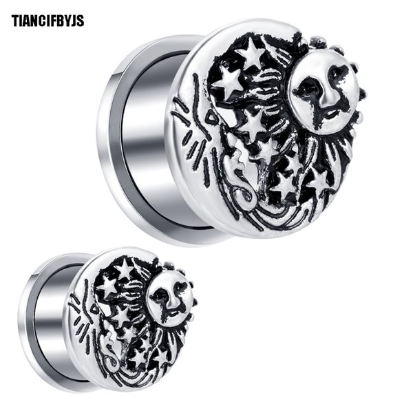 TIANCIFBYJS Ear Piercing Tunnels Plugs Acero Inoxidable Medidores de Pendientes Expander Stretcher Body Jewelry Flesh Tunnel 6-18 MM 70 UNIDS