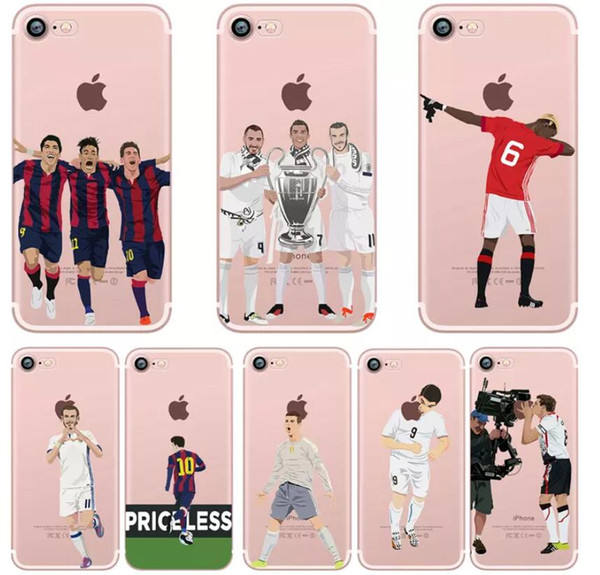 2018 Football Star Iphone X Soft TPU Mobile Phone Shell Painting Creative Custom Protective Cover Cell Phone Cases for Iphone 7 5G 6S 6P