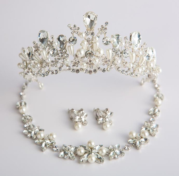 Crown headwear, bridal Pearl Wedding Necklace, earrings, crown sets, wedding dresses and accessories.