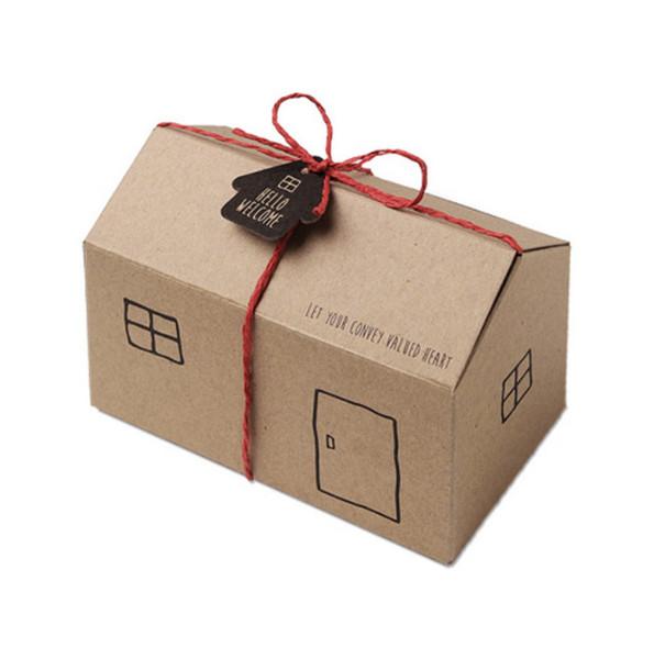 Little House forma caixas de presente de papel kraft para bolos doces biscoitos de casamento caixas de embalagem de festa de aniversário