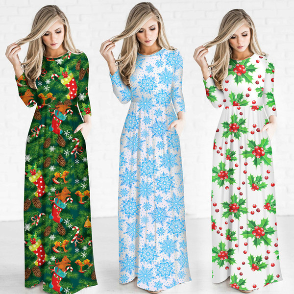 women casual dresses christmas candy pattern santa claus print dress