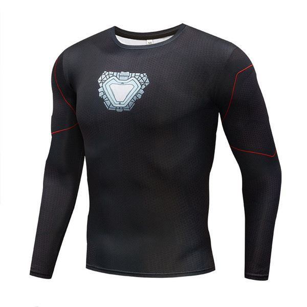 Iron man Printed 3D Tops Compression shirt Gym sports Bodybuilding T shirts Long Sleeve Spring Tees Fitness Camiseta Superhero
