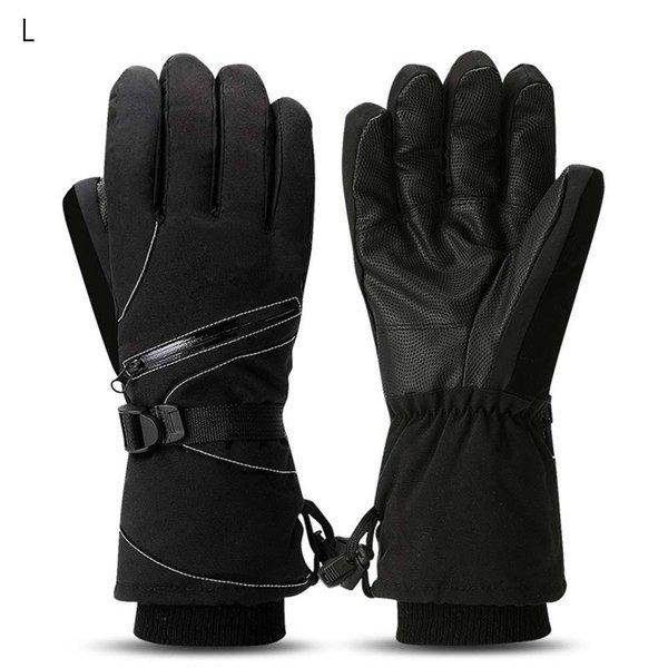 Unisex de invierno a prueba de viento caliente guantes de esquí impermeable engrosamiento deportes montar guantes de algodón de color negro XL tamaño de gimnasio accesorios